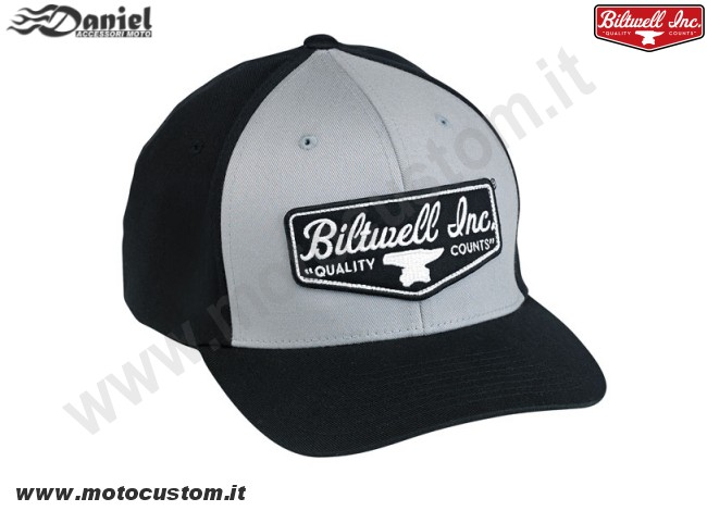Cappellino Biltwell Shield Fitted nero grigio cod 1793, Daniel accessori moto