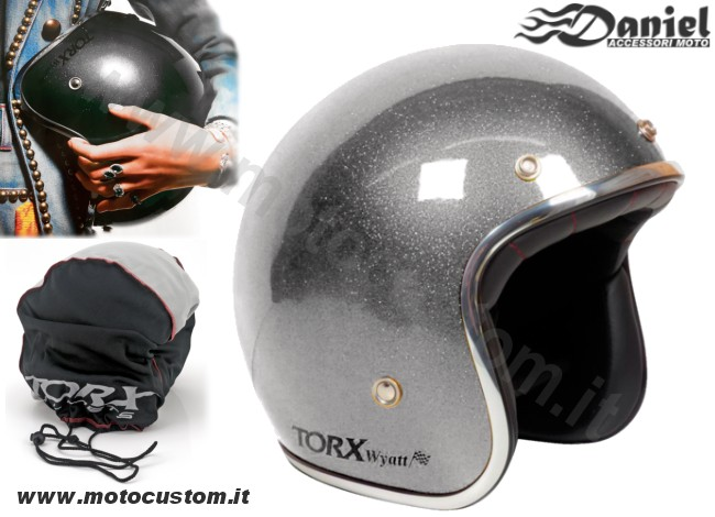 Casco Torx Wyatt 70 Flake Antracite , Daniel accessori moto