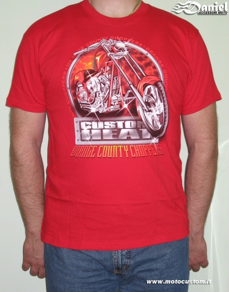 T shirt Custom Heat Red , Daniel accessori moto