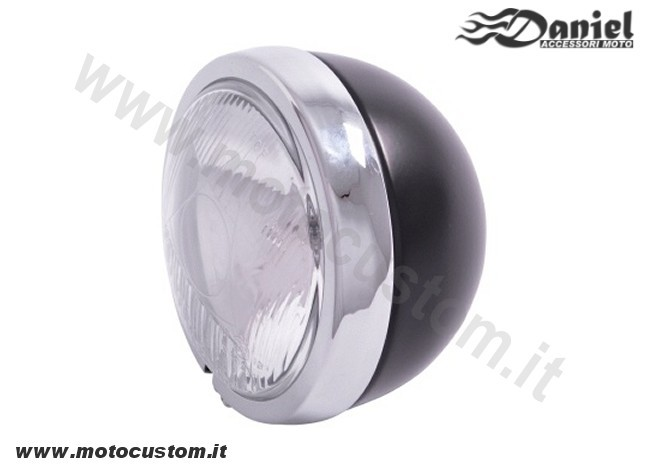 Faro supplementare moto nero cromo cod 1821, Daniel accessori moto