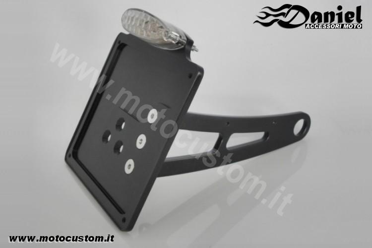Portatarga laterale alluminio per moto custom e stradali daniel