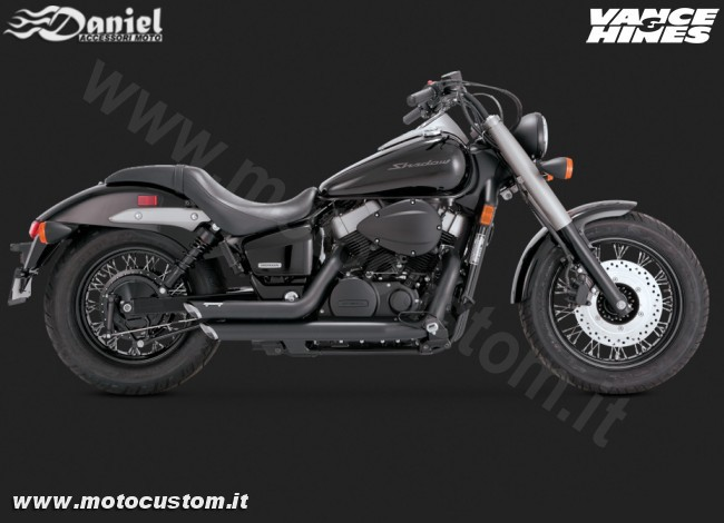 Scarichi Shortshots Staggered Black Honda VT750 cod 1863, Daniel accessori moto
